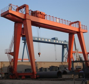 Double girder 50 ton mounted port container gantry crane
